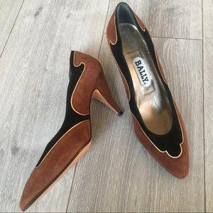 "Bally ""Art Deco"" Brown Black Suede Heel Pumps 7.5M"